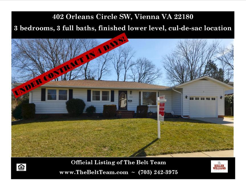 Home For Sale 402 Orleans Circle Sw Vienna VA 22180