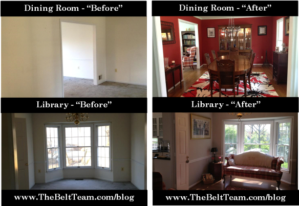 Vienna Dining Room Before and After Renovation by Dominion Associates Inc