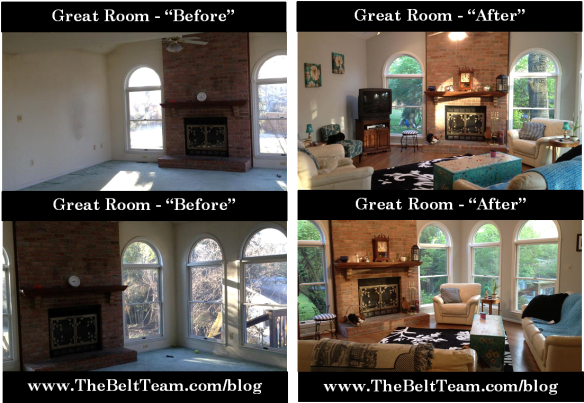 Vienna Great Room Before and After Renovation by Dominion Associates Inc