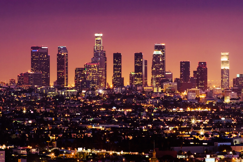 Downtown Los Angeles skyline at night.